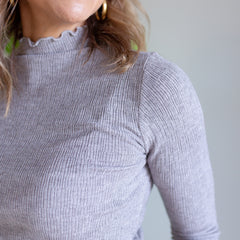 Light Ribbed Skivvy - Grey Marle