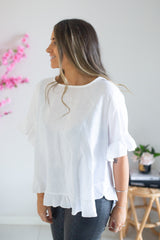 Linen Frill Top- White