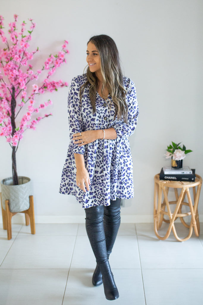Button Dress - Lilac Leopard