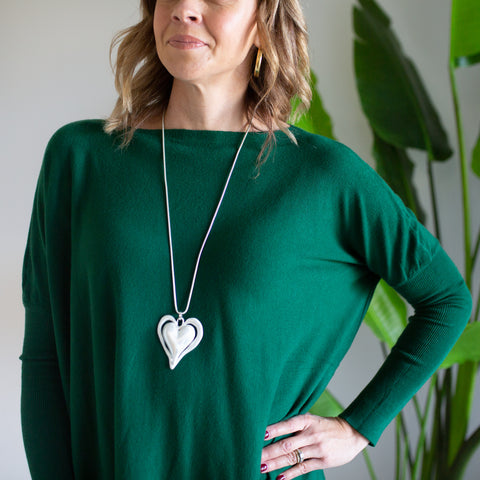 Two Tone Heart Necklace - Silver