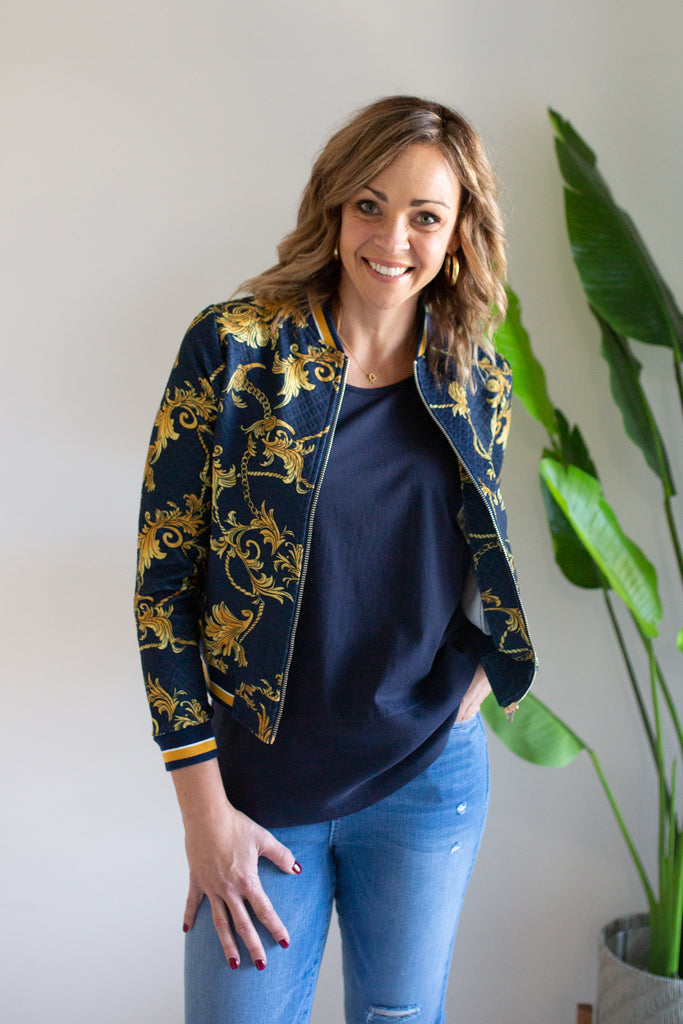 New Bomber Jacket - Navy/Gold