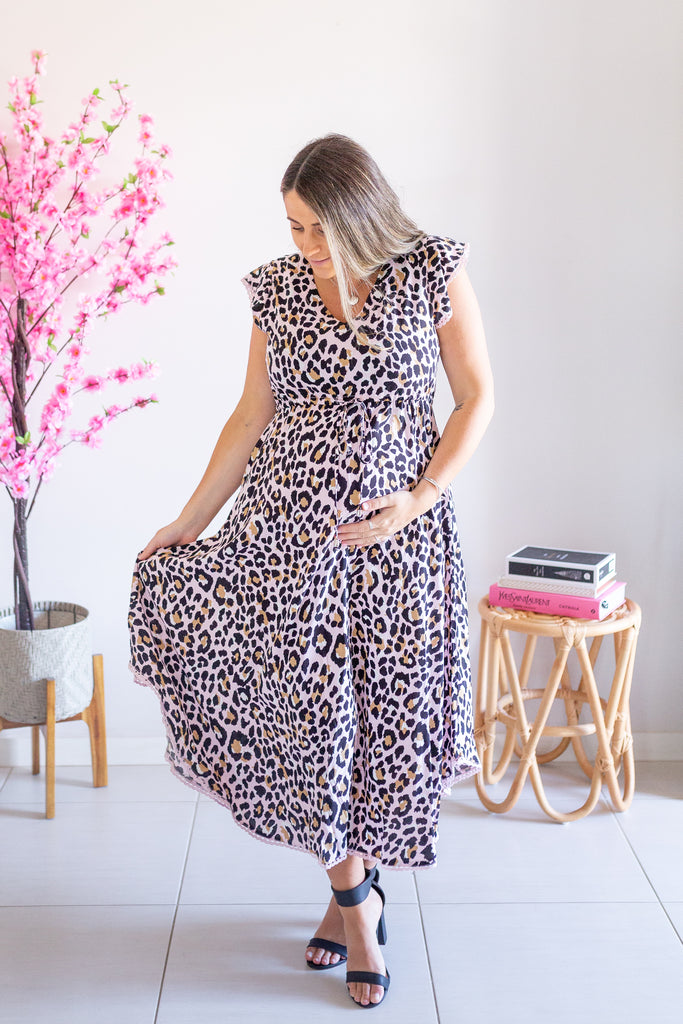 Acacia Dress- Pink/Tan Leopard