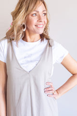 Holiday Linen Dress- Taupe