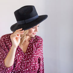 Ella Wool Fedora - Black