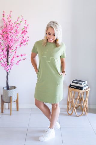 Stella & Gemma T-Shirt Dress - Khaki