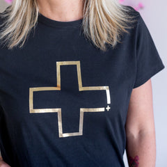 Gold Cross Tee - Black