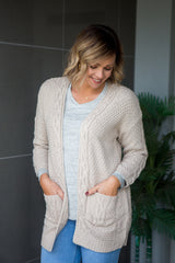 Cable Knit Cardi - Oatmeal