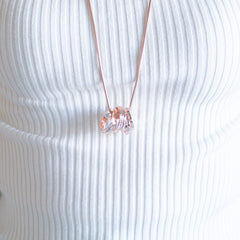 Bundle of Rings Necklace - Rose Gold