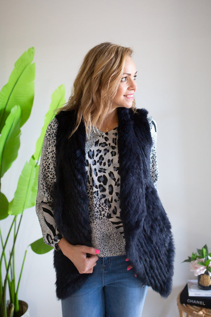 Soft Fur Vest - Black