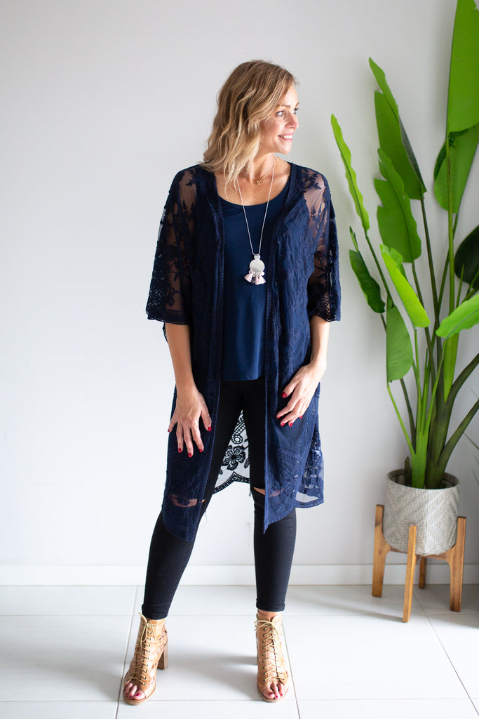 Lace Cape - Navy