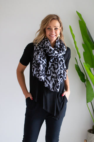 Charcoal Grey Leopard Scarf