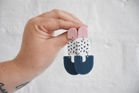 Pink Nade Earrings - Pink/White/Navy