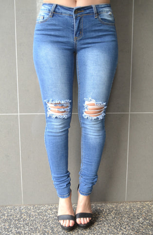 April Ripped Jean- Winter Blue