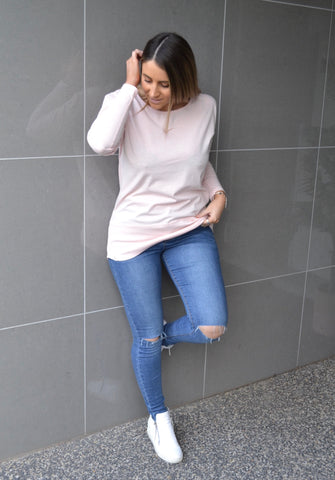 Fundamental Rib L/S Top - Pale Pink