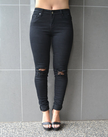 April Ripped Jean - Black