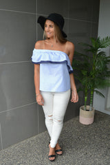Striped Duty Frill Top