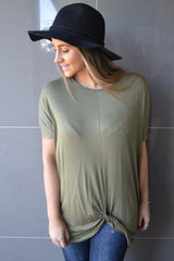 Knot Oversized Top - Khaki