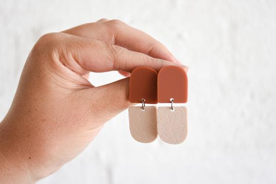 Pink Nade Earrings - Terracotta/Nude