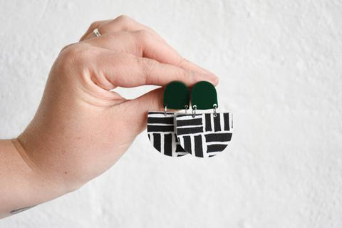 Pink Nade Earrings - Green/Black Terrain