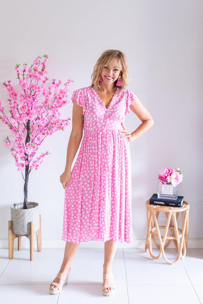 Aster Dress - Pink Polka Dot