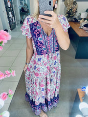 Spring Flower Maxi Dress- Pink/Purple