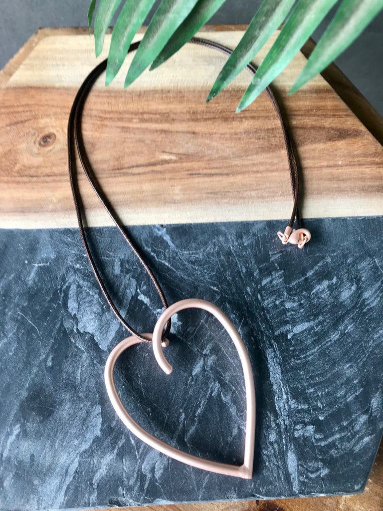 Large Heart Necklace - Rose Gold