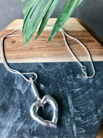 Chunky Heart Necklace - Silver