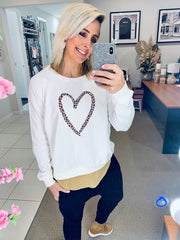 Leopard Heart Jumper- Cream