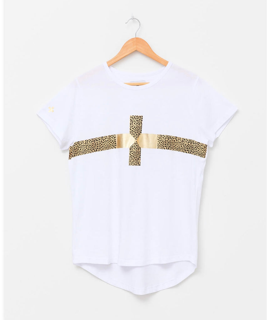 Gold Cross Tee- White