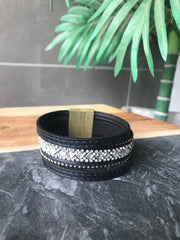 Leather Sparkle Bracelet - Black