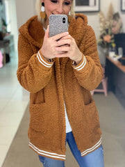 Brown Teddy Hooded Jacket