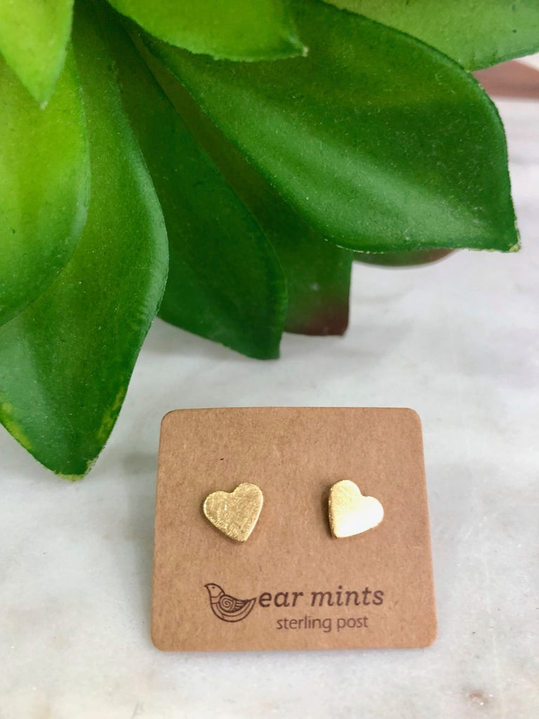 Fab Mint Stud- Gold Heart