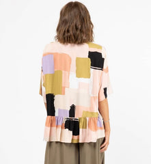Paint Print Drape Top