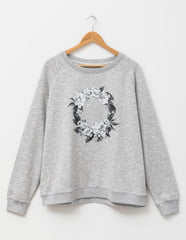 Floral Wreath Jumper- Grey Marle