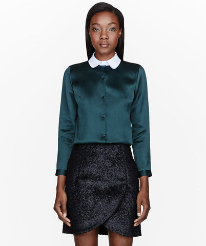 Green Satin Organza Blouse