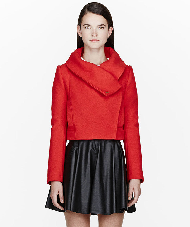 Vermillion red wool jacket