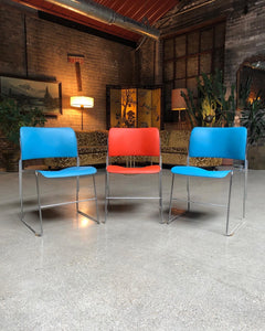 Metal Office Chairs by David Rowland Set (3)