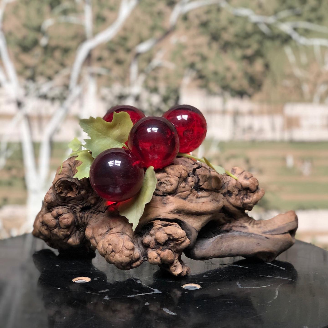 Glass Grapes on Driftwood