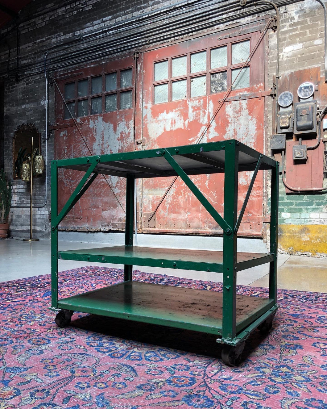 Green Industrial Cart on Casters