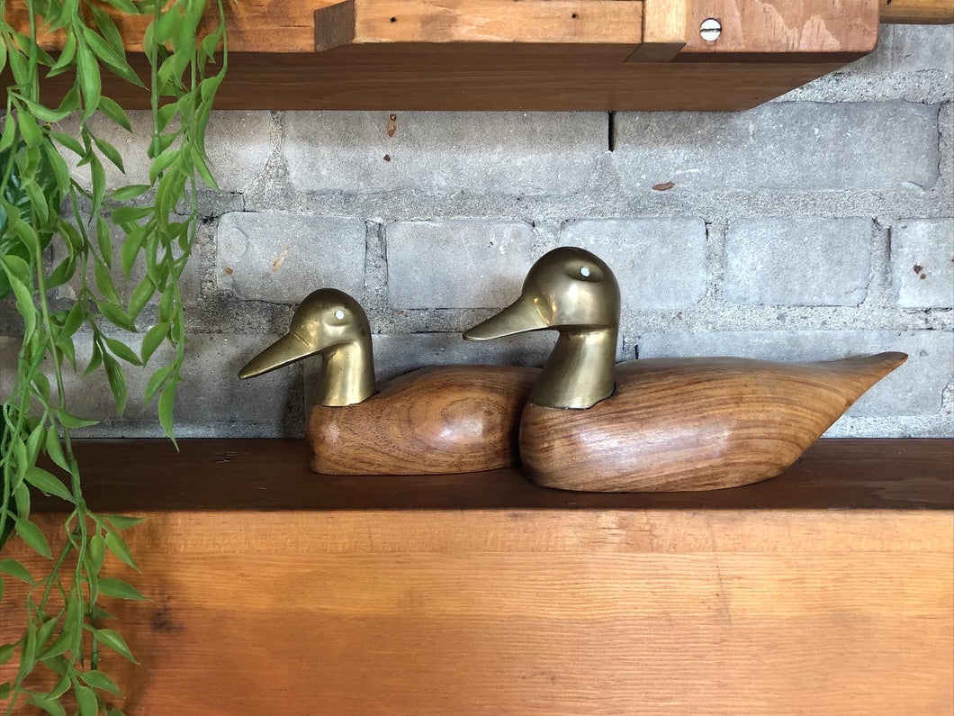 Brass and Wood Duck Set (2)