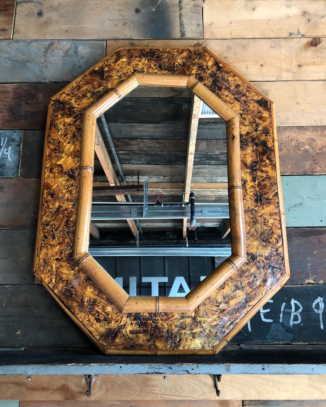 Bamboo and Particle Board Mirror