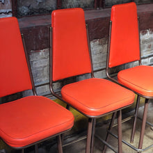 Load image into Gallery viewer, 1965 Orange Vinyl Bar Stool Set - TWO (2) LEFT