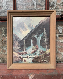Framed Mountain Landscape Textured Print
