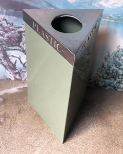 "Triangular Metal ""Plastic"" Recycling Bin"