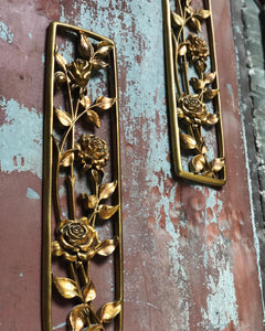 Golden Floral Plaque Set (2) by Syroco Wood