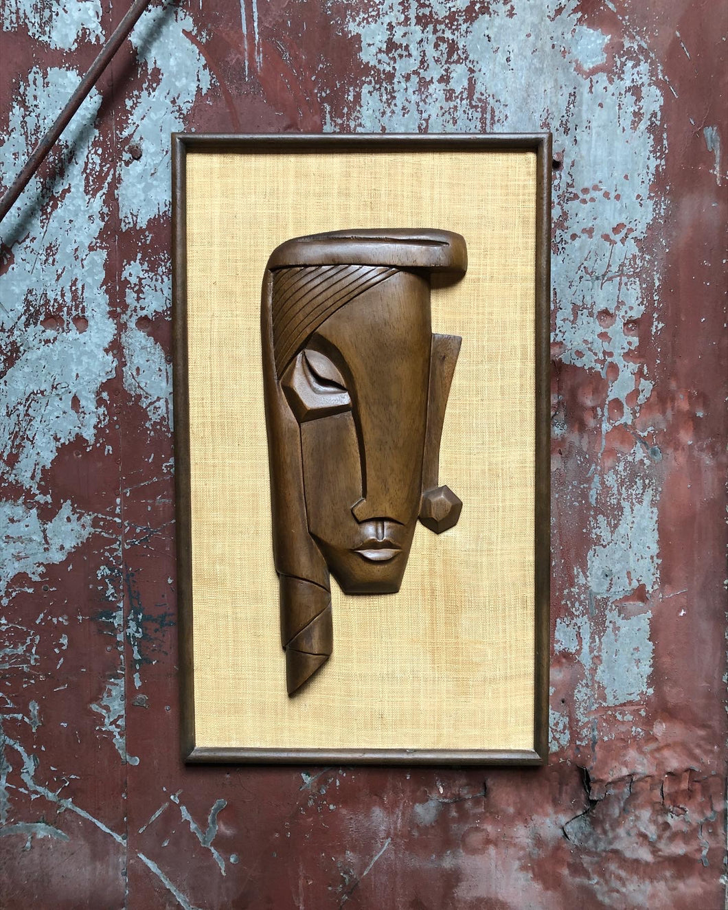 Abstract Wood Carving on Burlap
