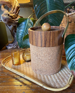 Faux Wood-Grain Vinyl and Cork Ice Bucket