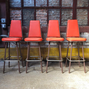 1965 Orange Vinyl Bar Stool Set - TWO (2) LEFT