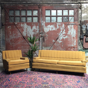 Mid-Century Mustard Couch and Armchair Set (2)