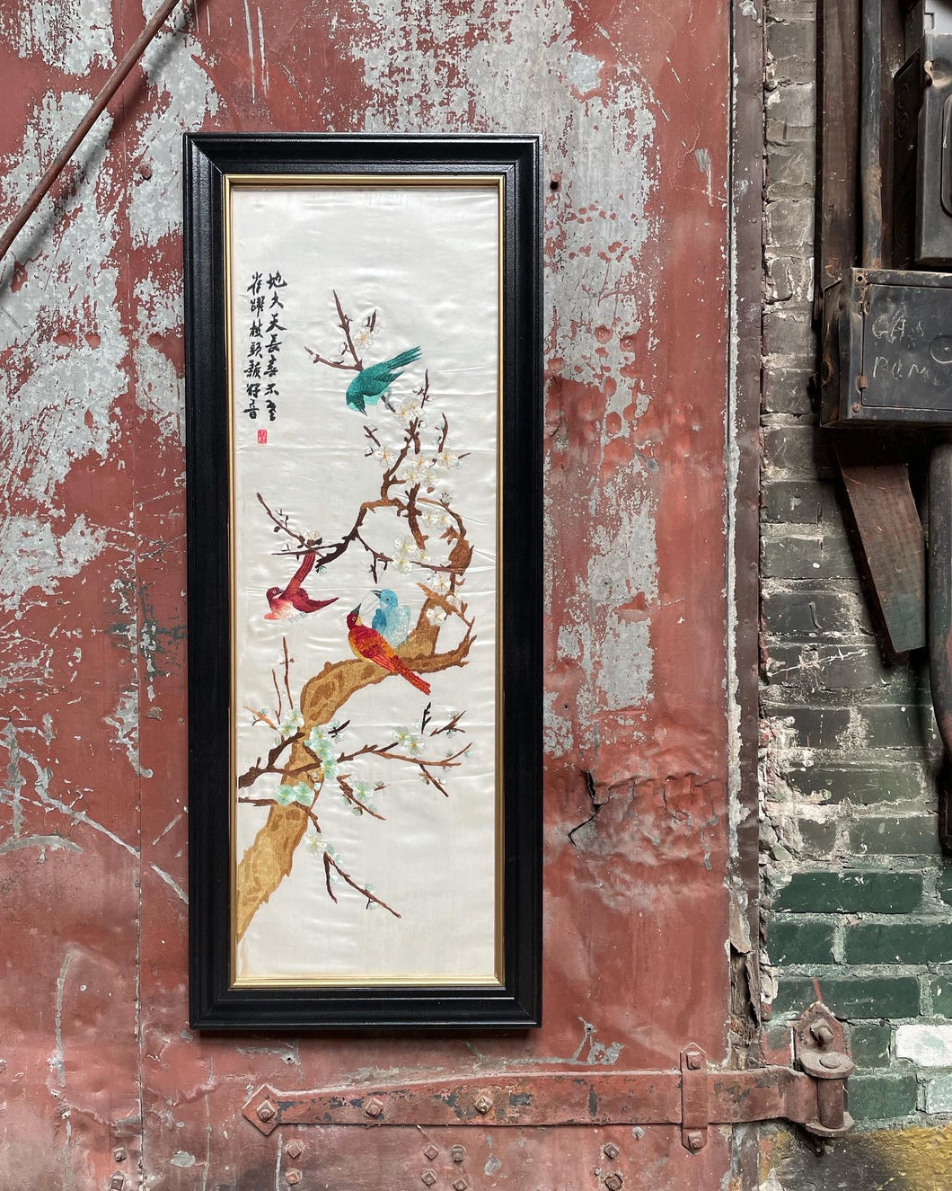 Framed Embroidered Silk Oriental Panel